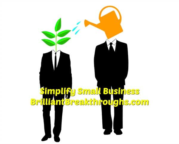 Small Business Coaching by Brilliant Breakthroughs, Inc. Vetting a mentor illustrated by 2 men. One has the head of a water can and is watering the other, who has the head of a plant.