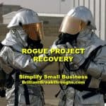 Small Business Coaching by Brilliant Breakthroughs, Inc. Rogue Project illustrated by two firefighters assuring their equipment is working properly.