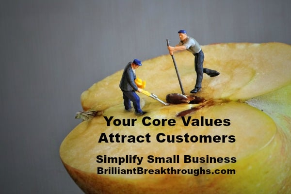 Small Business Coaching by Brilliant Breakthroughs, Inc._ Core Values illustrated by male figurines digging into an apple's core.