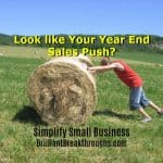 Small Business Coaching by Brilliant Brekathroughs, Inc. Sales Push illustrated by women pushing rolled bale of hay uphill.