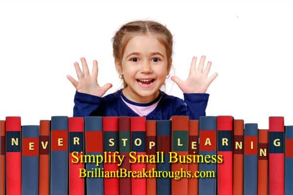 Small Business Coaching by Brilliant Breakthroughs, Inc. :Lifelong Learner illustrated by young school girl smiling with excitement.