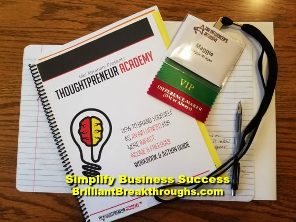 Small Business Coaching by Brilliant Breakthroughs, Inc. Business Allies illustrated by name badge and work book for Influencer's Intensive.