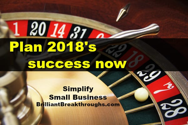 Small Business Coaching by Brilliant Breakthroughs, Inc. 2018 Business Success Plan illustrated by a roulette table with ball on lucky 7.