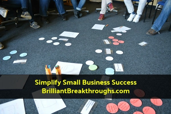 Small Business Coaching by Brilliant Breakthroughs Inc.  Business Plan Prework illustrated by a team doing brainstorming