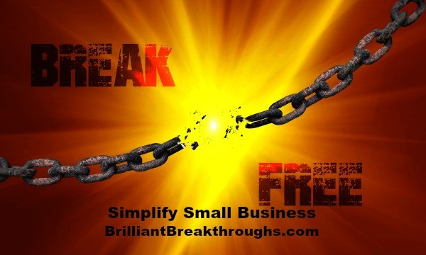 Small Business Coaching by Brilliant Breakthroughs, Inc. Releasing 1 old habit illustrated by broken chain links.