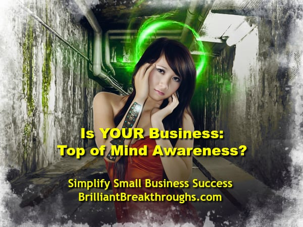 Small Business Coaching by Brilliant Breakthroughs, Inc. TOMA illustrated by young women with a green halo around her head.