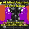Small Business Coaching by Brilliant Breakthroughs Inc. Top of Mind Awareness Matters illustrated by 2 profiles of people with arrows pointing to the top of their minds and other distraction in the background.