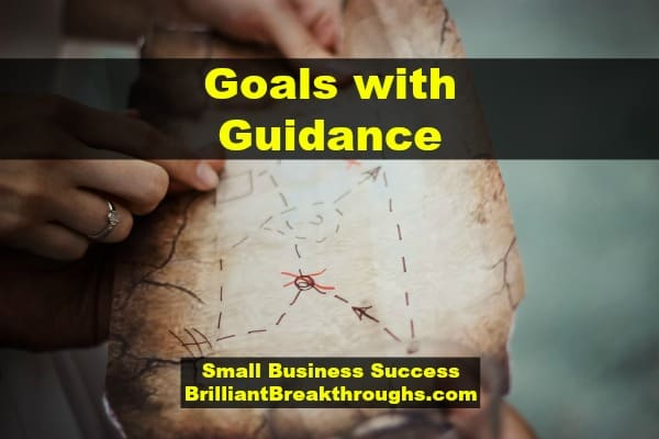 Small Business Coaching by Brilliant Breakthroughs, Inc. Write down goals illustrated by a couple holding an antiquated treasure map with an X on it.