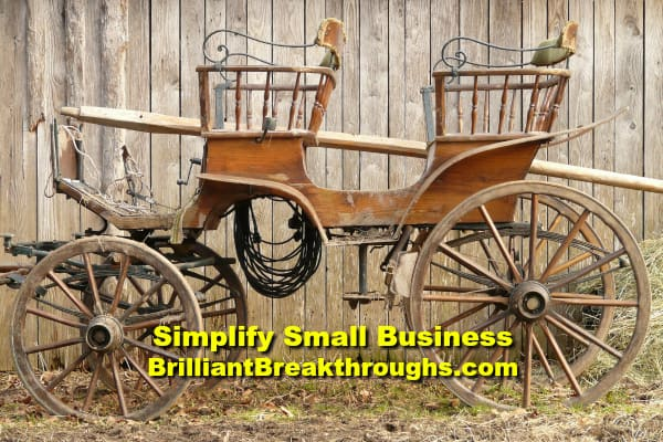 Small Business Coaching by Brilliant Breakthroughs, Inc. Talking success illustrated by antique carriage.