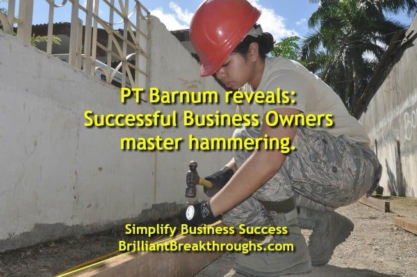 Small Business Coaching by Brilliant Breakthroughs, Inc. Instead of Scattering power, practice hammering. Women nailing with a hammer.