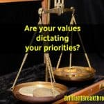 Small Business Coaching by Brilliant Breakthroughs, Inc. Image: Values illustrated with an old fulcrum scale.