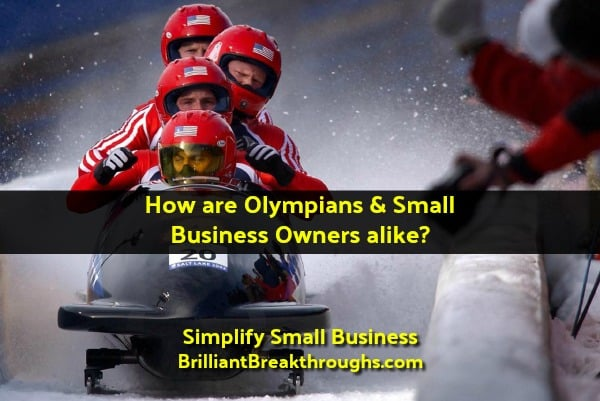 Small Business Coaching by Brilliant Breakthroughs, Inc. Topic: Winter Olympics illustrated by USA Bobsled Team on a run.