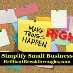 Small Business Coaching by Brilliant Breakthroughs, Inc. Daily Actions illustrated by a cork board with multi-colored posted notes.