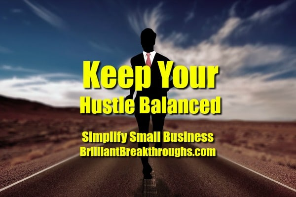 Small Business Coaching by Brilliant Breakthroughs, Inc. TOPIC: Hustle  Illustrated by a man in a suit running down the middle of a highway.
