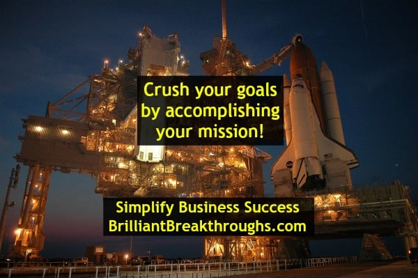 Small Business Coaching by Brilliant Breakthroughs, Inc. Topic: Mission illustrated by a Space Shuttle being positioned on Launch Pad