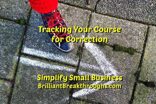 Small Business Coaching by Brilliant Breakthroughs, Inc.  Topic: Tracking progress illustrated by shoe having it's course recorrected.