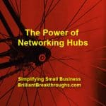 Small Business Coaching by Brilliant Breakthroughs, Inc. Networking Hubs illustrated by a bicycle's hub and spokes.