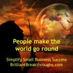 Small Business Coaching by Brilliant Breakthroughs, Inc. Topic: World go Around illustrated with women blowing a world bubble.