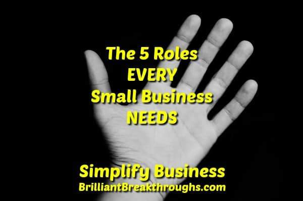 Business Coaching by Brilliant Breakthroughs, Inc.  5 Roles illustrated by and extended hand with extended digits.