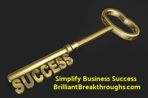 Business Coaching by Brilliant Breakthroughs, Inc. Topic: Defining success illustrated by a golden key with the word success as unlocking pins.