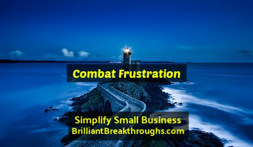Small Business Coaching by Brilliant Breakthroughs, Inc. Topic: Frustrated Small Business Owners illustrated by Lighthouse shining at night over the deep blue ocean.