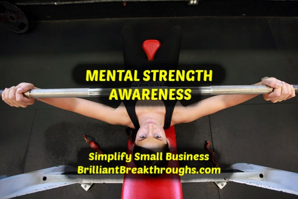 Small Business Coaching by Brilliant Breakthroughs, Inc. Topic Mental Strength illustrated by women lifting weights.