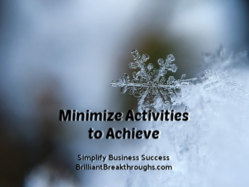 Business Coaching by Brilliant Breakthroughs, Inc. Topic: Minimize Activities illustrated by a magnified snowflake.