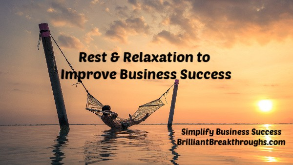 Small Business Coaching by Brilliant Breakthroughs, Inc. Topic: Rest & Relaxation illustrated by a may in a hammock over water.