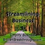Business Coaching by Brilliant Breakthroughs, Inc. Topic: Streamlining Business illustrated with a paved lane with trees on the side.