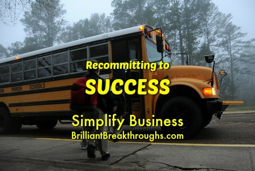 Small Business Coaching by Brilliant Breakthroughs, Inc.  Topic: Recommitting to Success Illustrated by children getting on a school bus.