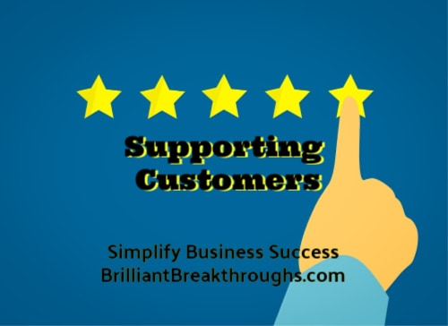 Small Business Coaching by Brilliant Breakthroughs, Inc. Topic: Customers Interrupting illustrated by clicking on a 5 star review.