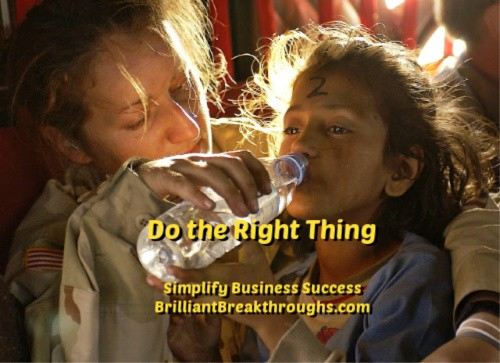 Small Business Coaching by Brilliant Breakthroughs, Inc. Doing the right thing illustrated by a women rescuing a child and giving her water.