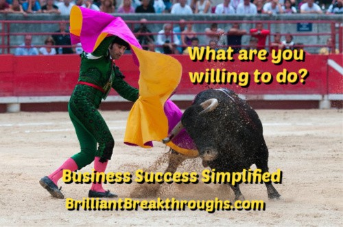 Small Business Coaching by Brilliant Breakthroughs, Inc. Topic: Willing Illustrated by a bullfighter and bull