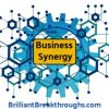 Business Synergy illustrated with blue gears and nodes interconnected.